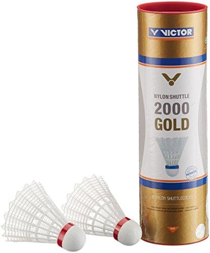 VICTOR Badminton Federball Nylon 2000 6er Dose, Weiß/Rot