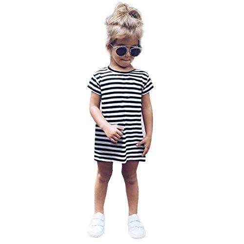 Kleider, (1-6 Jahre) Kleinkind Baby Kind Mädchen Lässige Kurzarm Party Gestreifte Prinzessin Kleider Kleidung ()