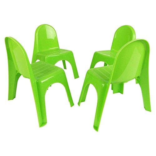 Kinderstühle 4er Set - GRÜN - Robuster Stuhl für Kleinkinder - Kindermöbel Gartenstühle