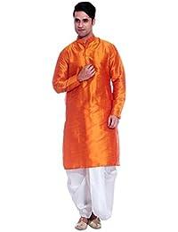Ruchi Mart Étnica Dhoti Kurta naranja tradicional mezcla de seda Bollywood Hombres DIWALI Especial