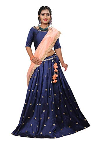 Krami Women\'s Golden Embroidred Lehenga And Choli and dupatta, Material Taffeta, Size: Free color navy blue