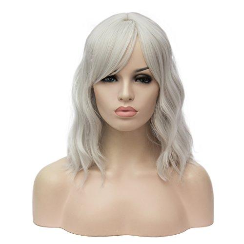 ATAYOU-WIG Mujer Hombros bob Pequeños rizos ondulados Elegante peluca Blanco plateado