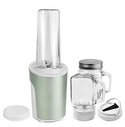 Venga! VG BL 3009 - Mezcladora y batidora para smoothies 2 en 1 de 450 W, 600 ml (acero inoxidable, plástico y cristal, color verde menta)