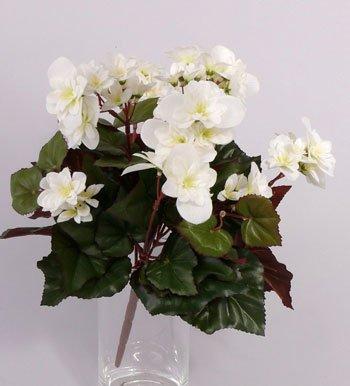 artplants Künstliche Begonie Lamia, 70 Blüten, Creme, 30 cm – Kunstblumen/Künstliche Pflanze