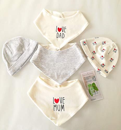 Baby-Accessoires-Set 0 bis 4 Monate Gr. 62 Originelle Geschenkidee für Neugeborene 5-teilig bestehend aus 3 Lätzchen und 2 Mützchen Babykleidung für Junge & Mädchen Babygeschenk reine Bio-Baumwolle