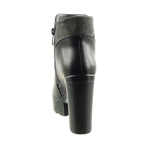 Angkorly - damen Schuhe Stiefeletten - Biker - Reitstiefel - Kavalier - bi-Material - elastisch Blockabsatz high heel 11.5 CM Grau