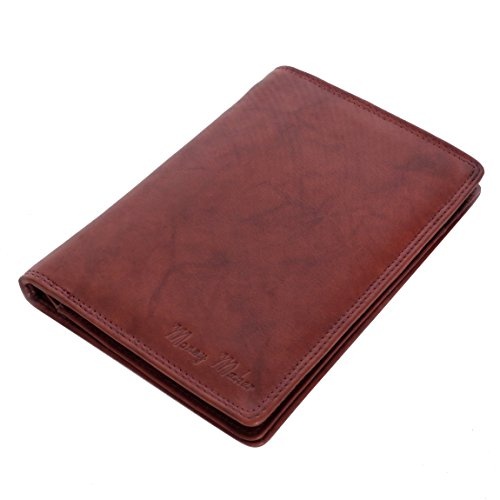 Große Herren Leder Brieftasche Ausweismappe braun