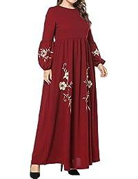 Abaya Kaftan Ropa Islámica Largo - Mujeres Musulmanas Maxi Vestido Suelto Árabe Vestidos Elegantes Bordado Manga