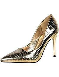 YIXINY Zapatos de tacón Color Metálico Sexy Mujeres Zapatos De Tacón Alto  Apuntado Citas Fiesta Vestido 6a0309b8394