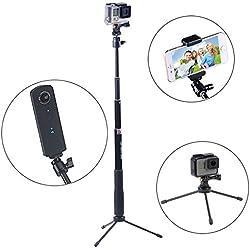 Smatree Q3 Palo Selfie Stick con Trípode para GoPro Hero 6/5/4/3 +/3/2/1/ Session, Ricoh Theta S/V, M15 Cámaras Compactas y Teléfonos Móviles