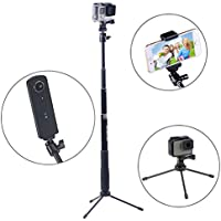 Smatree SmaPole Q3 Telescoping Pole / Selfie Stick with Tripod Stand for GoPro Hero 2018/GoPro Fusion/Hero 7/6/5/4/3/2/1/Session Cameras / for Compact Cameras / Cell Phones