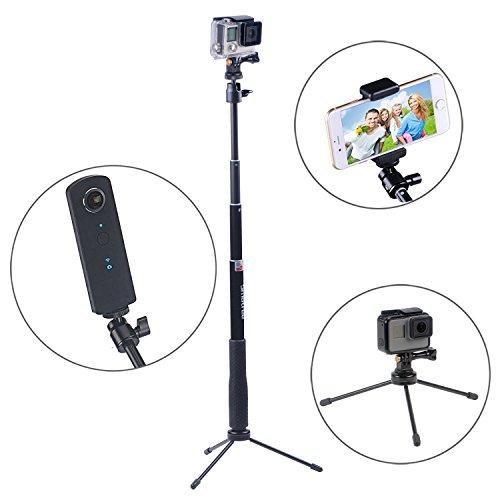 Smatree SmaPole Q3 Ausziehbare Pole / Selfie Stick mit Stativ für GoPro Hero 6/5/4/3+/3/2/1/Session / für Kompaktkameras / Handys