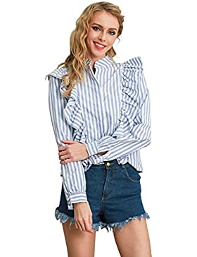 Simplee Apparel Women's Casual Long Sleeve Cotton Ruffle Stripe Button Shirt Blouse Top Blue