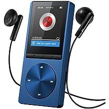 """OMORC 130AD - Lettore MP3 Player Portatile con Fascia Sportiva MP3 Runing 8GB Schermo 1.8"""" Radio FM Registrazione, 24 Lingue, Lega di Alluminio. Blu"""