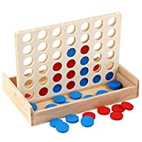 shaoyanger 4 in a Row. Four in a Row Wooden Game, Line Up 4, Classic Family Toy, Board Game for Kids and Family Fun