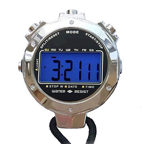 LAOPAO Digitale Stoppuhr, Leuchtend Handheld Großes LCD-Display Wasserdicht täglich Alarm 1/100 Sekunden Precision Timer Für Fussball Sports Training