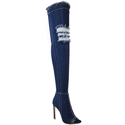 Femmes Au-dessus Du Genou Bottes Bas Talon Haut Talon Aiguille Jeans Extensible Taille Denim Bleu Foncé