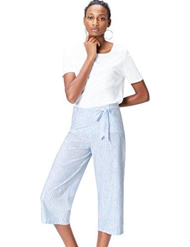 find. Hose Damen Culotte mit Streifenmuster und Gürtel, Blau (Blue Stripe), 36 (Herstellergröße: Small) (Shorts Culotte Damen)