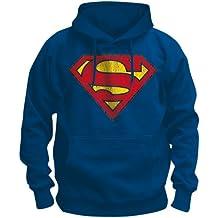 Original sudadera con capucha sudadera con capucha SUPERMAN Retro de destruir LOGO azul Bravo talla S