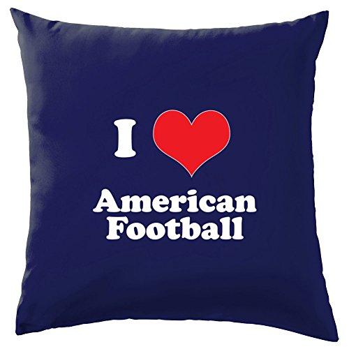 Evolution des Menschen I Love American Football Kissen-41x 41cm (40,6cm)-10Farben, 100 % Baumwolle, navy, 41 x 41cm (16