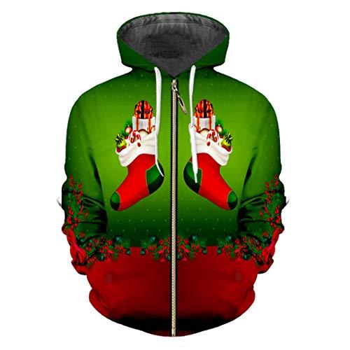 HensGalis Mann 3D Sweatshirt gedruckt Weihnachten und Weihnachtsmann Winter Lovely Zip Hoodies Brown XL
