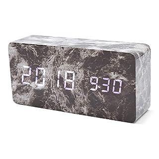 EbuyChX LED Dual Screen Sound Control Wooden Alarm Clock Multi-B