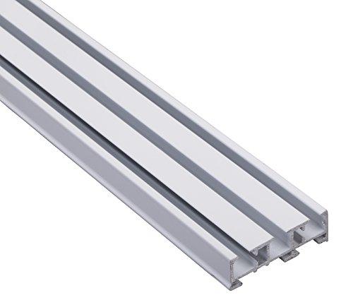 Vorhangschiene Gardinenschiene 3-läufig, Aluminium weiss, 450 cm, mit Deckenclips und Endkappen