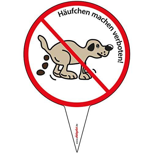dataplus Steckschild Verbotsschild, Hier kein Hundeklo, 303x210 mm, Hinweisschild, Häufchen machen verboten, Verbotsschild