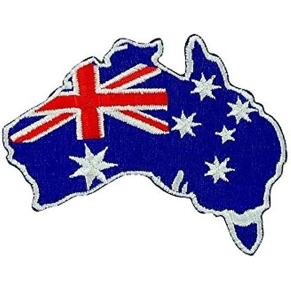 Australien Flagge Fahne blau Aufnäher // Bügelbild 6,5 x 7,5 cm