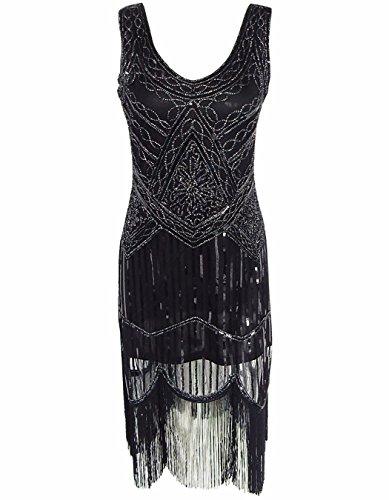 OOFIT Damen 1920er Gatsby Art Deco Perlen Franse Flapper V-Ausschnitt Charleston Kleid Partykleider Schwarz Abendkleid Gatsby Kleid Gr. (Schwarzes Flapper Kleid Charleston)