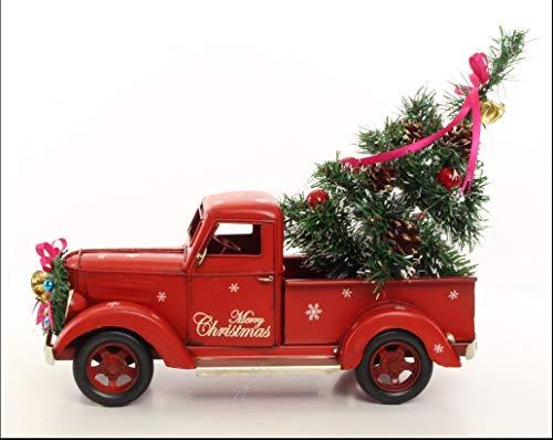 Clever-Deko Nostalgie Blechauto Pickup Oldtimer Retro rot Weihnachtsdeko Weihnachten Christmas Weihnachtsmannmobil
