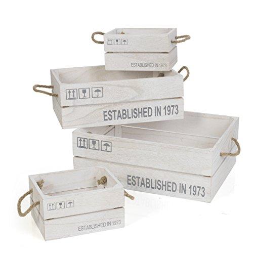 MONTEMAGGI Cassette listoni en Bois en série de 4 36 x 26 x 13 cm