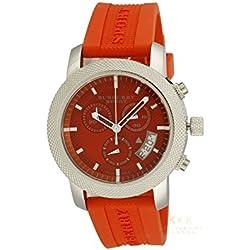 Burberry Sport BU7763 - Reloj cronógrafo suizo unisex de goma naranja para mujer, unisex