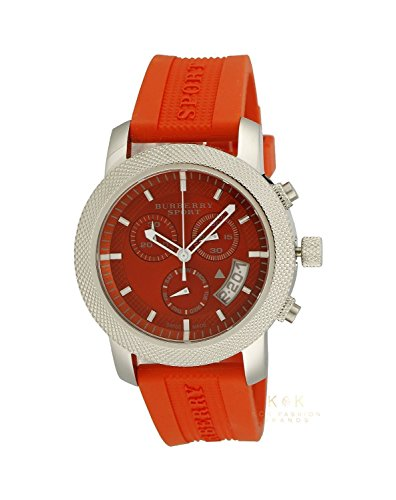 Burberry Sport Swiss Chronograph Watch Unisex Women Men Utilitarian Orange Rubber Silicone Band Date Dial BU7763