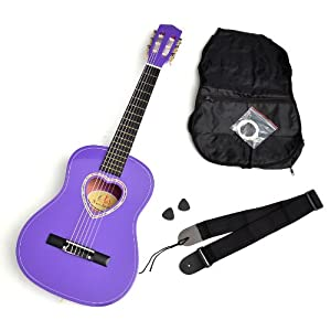 ts-ideen Classical Children Acoustic Guitar 1/2 Size in Purple with Starter Package