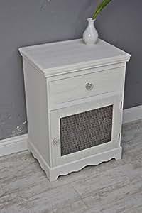 Table de chevet style campagnard blanc beige rose veiné table de chevet en bois avec tiroir