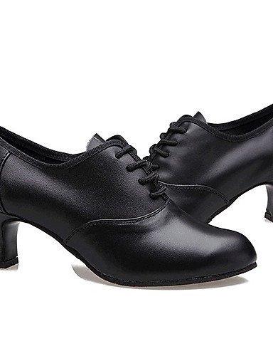 ShangYi Chaussures de danse (Noir/Rouge/Or) - Non personnalisable Cuir - Moderne Red