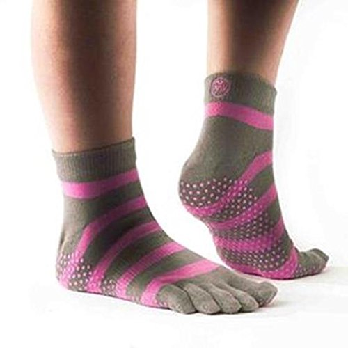 PhysioWorld Full Toe Socks - Pink/Grey - Large - Griffen Zehen-socken Yoga Mit Männer