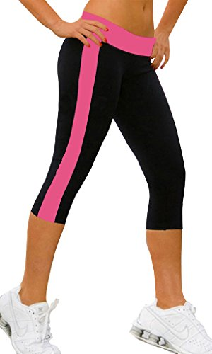 Damen Jogginghose leggings damen sport 3/4 Strumpfhose shorts Pants Schwarz+rosa,M (Strumpfhose Shorts Leggings)