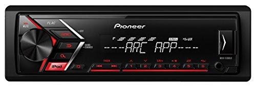 Pioneer MVH-S100UI 1/2 DIN-Autoradio mit AUX-In und USB, RDS Tuner, Wiedergabe von MP3 WMA WAV FLAC, iPod/iPhone-Steuerung, MOS-FET 4x 50W rot