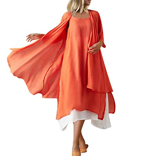 Steampunk Kostüm Sally - TEBAISE Leinenkleider Freizeitkleider Damen Einfarbig Trägerkleid + Leinen Langarm Kimono Zweiteiliges Set Maxikleid 2019 Frauen Vintage O-Neck Baumwolle Leinen Lange Kleider Strandkleid