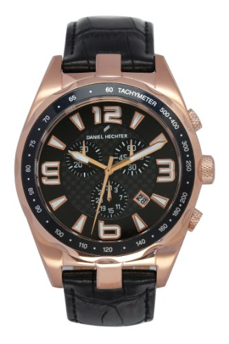 Daniel Hechter Men's Quartz Watch with Black Dial Analogue Display Quartz Leather DHH 005 2AA