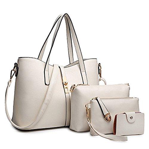 fanhappygo Fashion Retro Leder Hohe Kapazität Abendtaschen Damen Schulterbeutel Umhängetaschen 3 in a set weiß