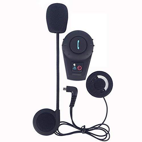 Asvert Motorrad Helm Bluetooth Headset Wireless Intercom Kopfhörer mit Mikrofon für Motorrad Roller Ski Kommunikation, Reichweite-500M / Bis zu 3 Fahrer Pairing (FDC-VB, Single)