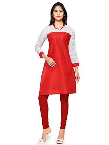 KVSFAB Women's Kurti (Red colour _Printed Cotton Kurti)[KVSKR1001KIYAZA_XL]