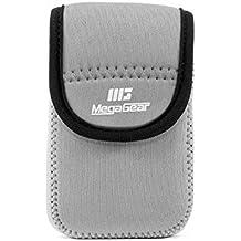 MegaGear mg1277Ultra luz Funda de Neopreno con mosquetón para Nikon Coolpix W300/AW130/Ricoh WG-30W/WG-50–Cámara–Gris