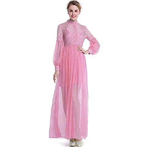 Women's fashion personality two-piece long-sleeved lace lace stitching imitation silk large swing dress , pink , xxxl
