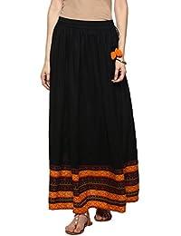 Evam Black Printed Rayon Skirt - B074DVW9G8