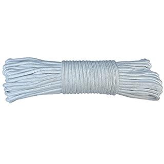 amgateEu Flaggleine, Flaggen-Seil, 24,40 m, 0,63 cm (1/4 Zoll), Polyester, für Fahnenstangen bis zu 10,66 m, weiß