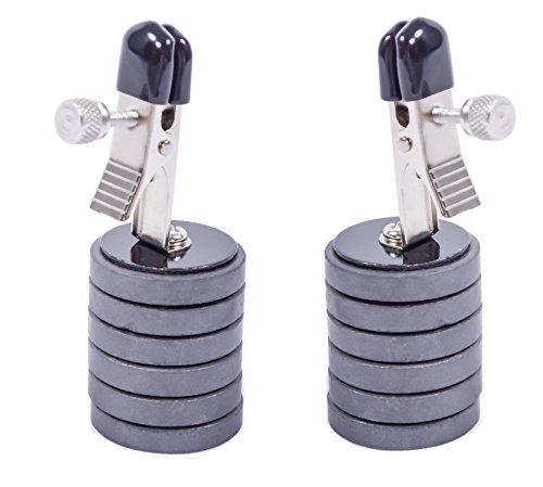 2er Set Nippelklammern mit Magnet-Gewichten 0075